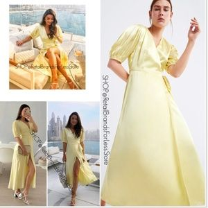 ZARA PASTEL YELLOW V NECK SATEEN MIDI MAXI DRESS